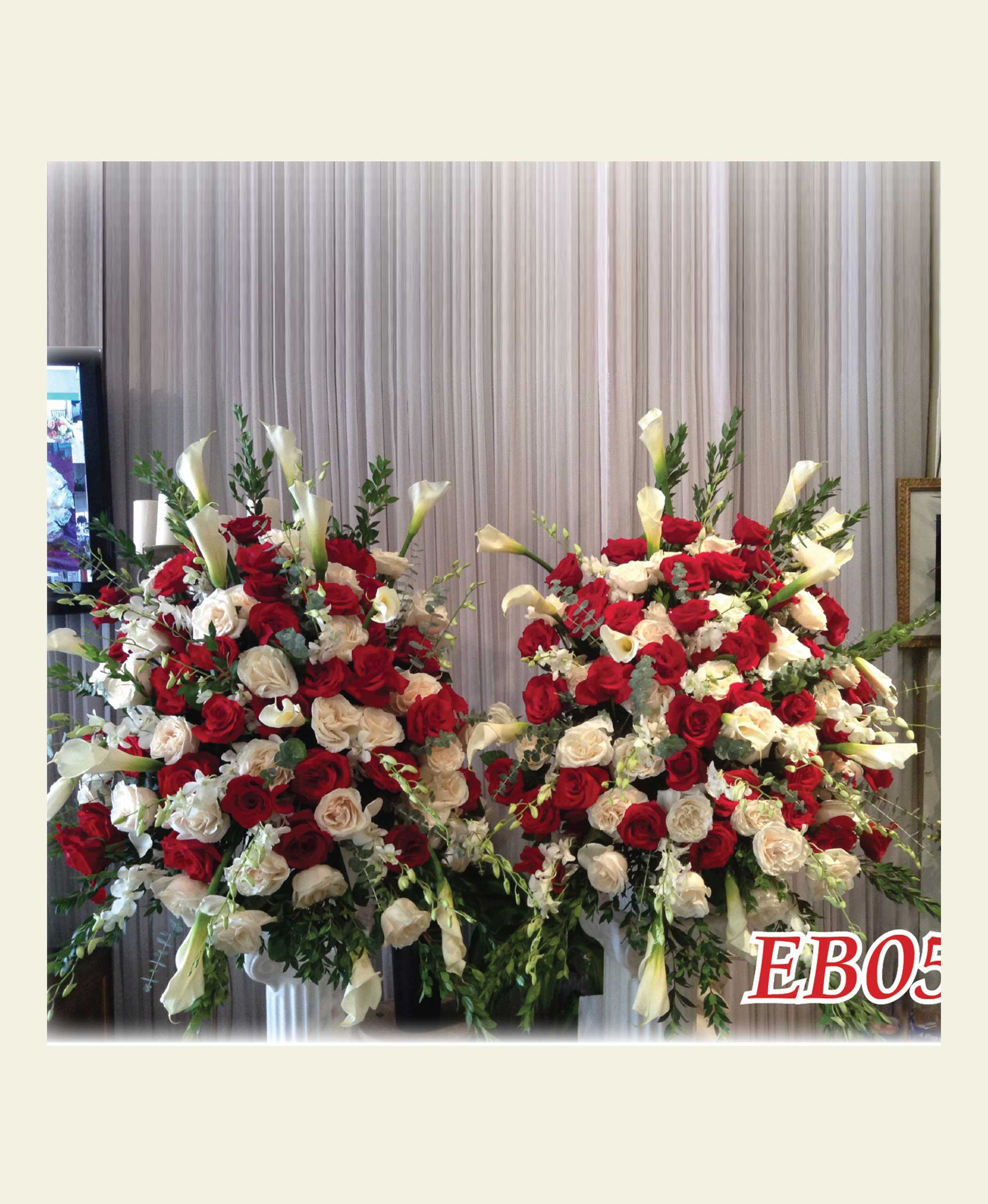 Eb0500 Red And White Rose Double Elegant Basket Floral Fantasy Us