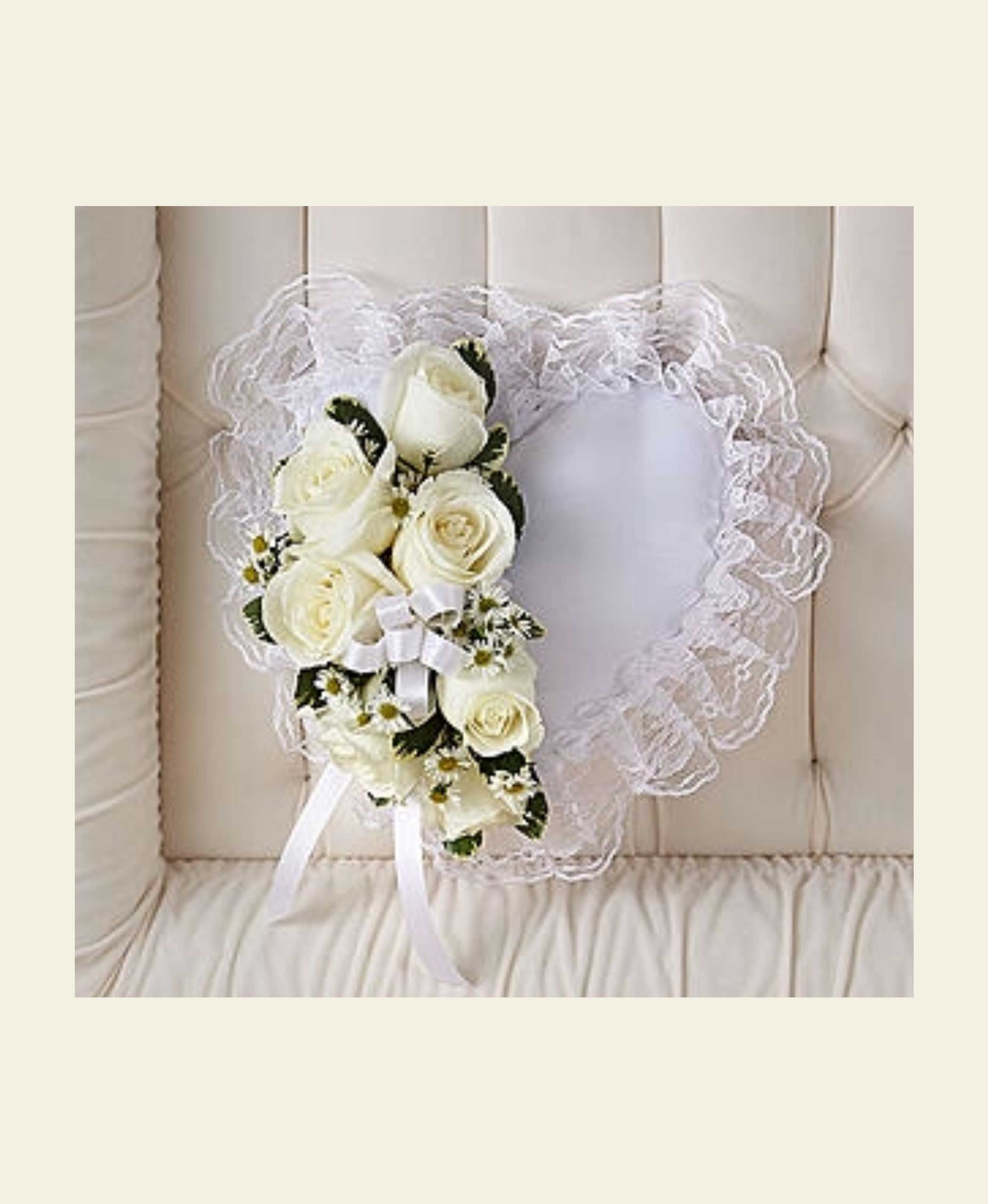 P0110 satin heart pillow with white flowers floral fantasy us flowers mightylinksfo