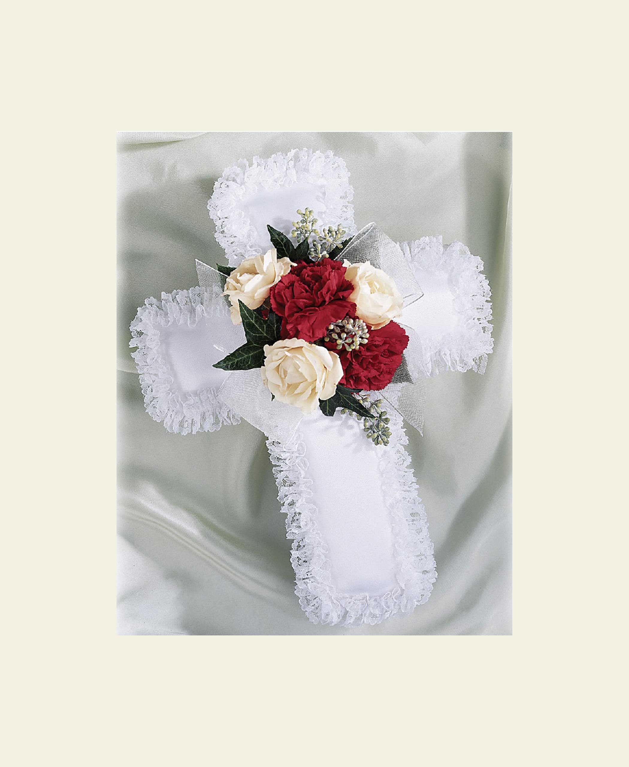 P0200 Satin Cross Pillow With Red And White Flowers Floral Fantasy Us